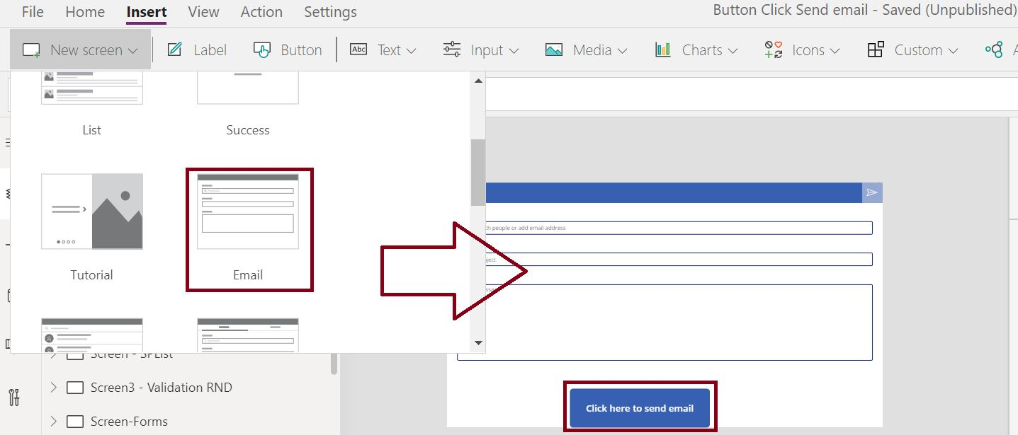 Add email template screen in PowerApps