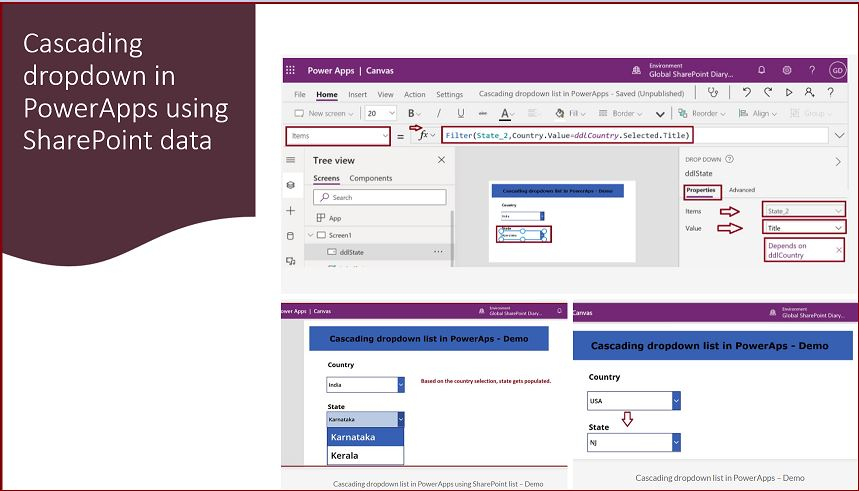 Cascading dropdown in PowerApps using SharePoint data