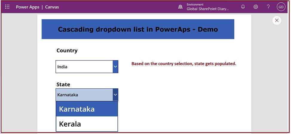 Cascading dropdown list in PowerApps using SharePoint list - Demo