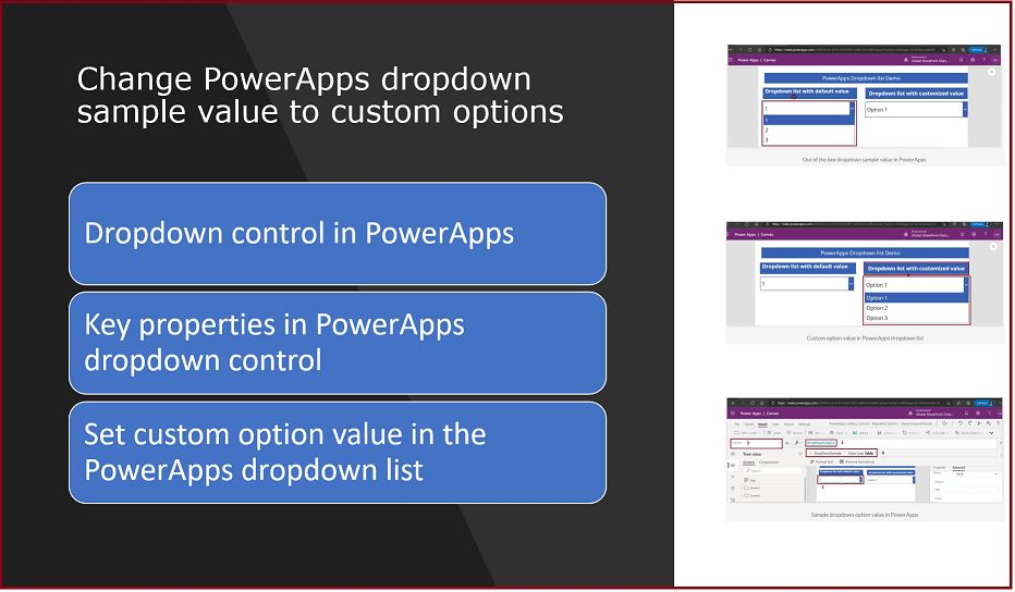 Change PowerApps dropdown sample value to custom options