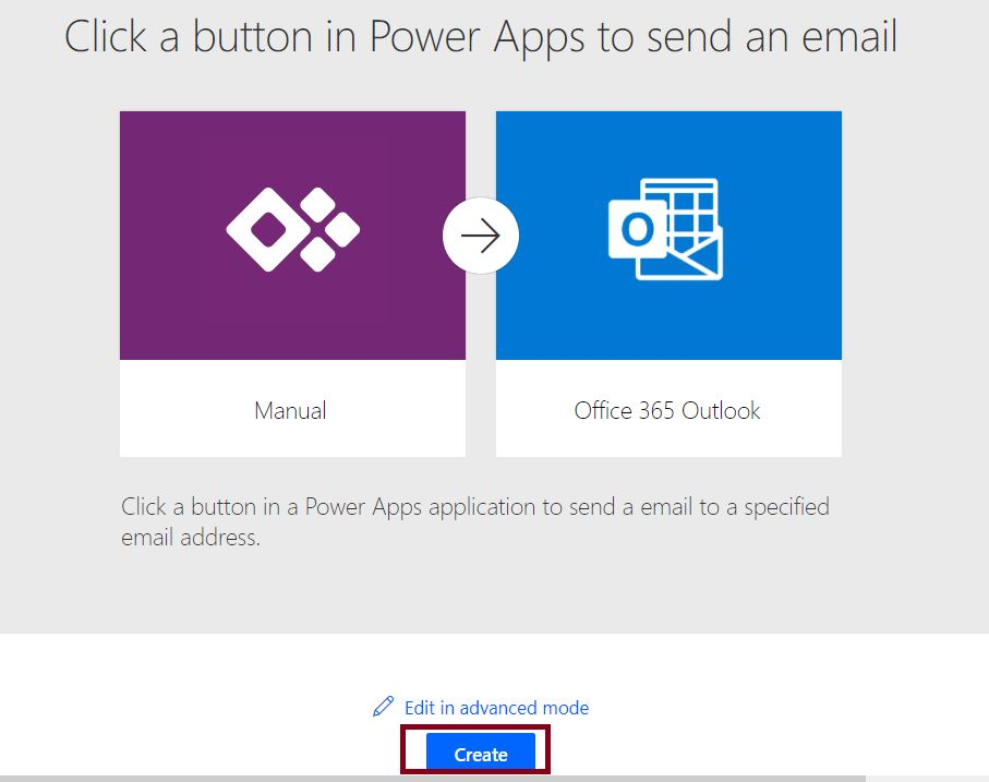 PowerApps send email - Create connection with office 365 Outlook
