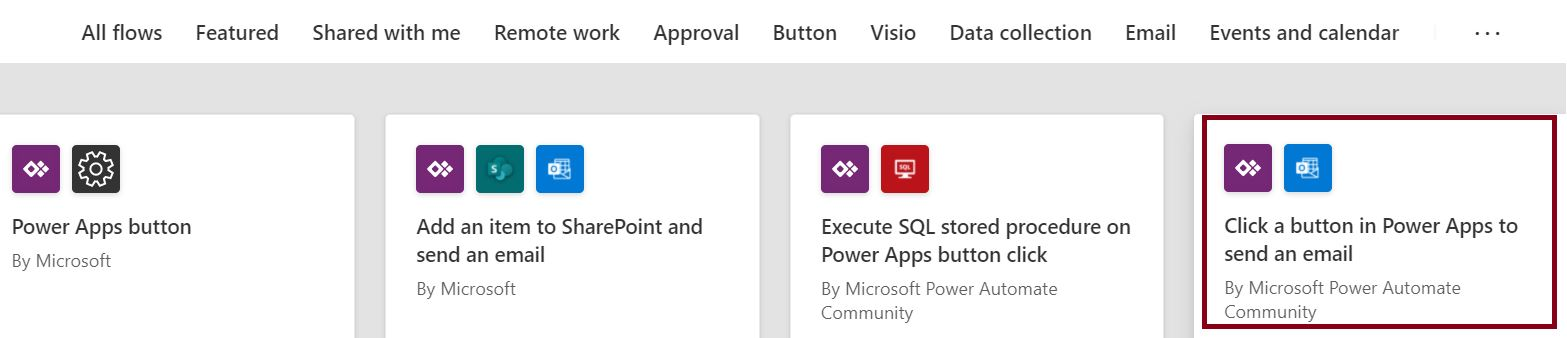 Click a button in Power Apps to send email Power Automate