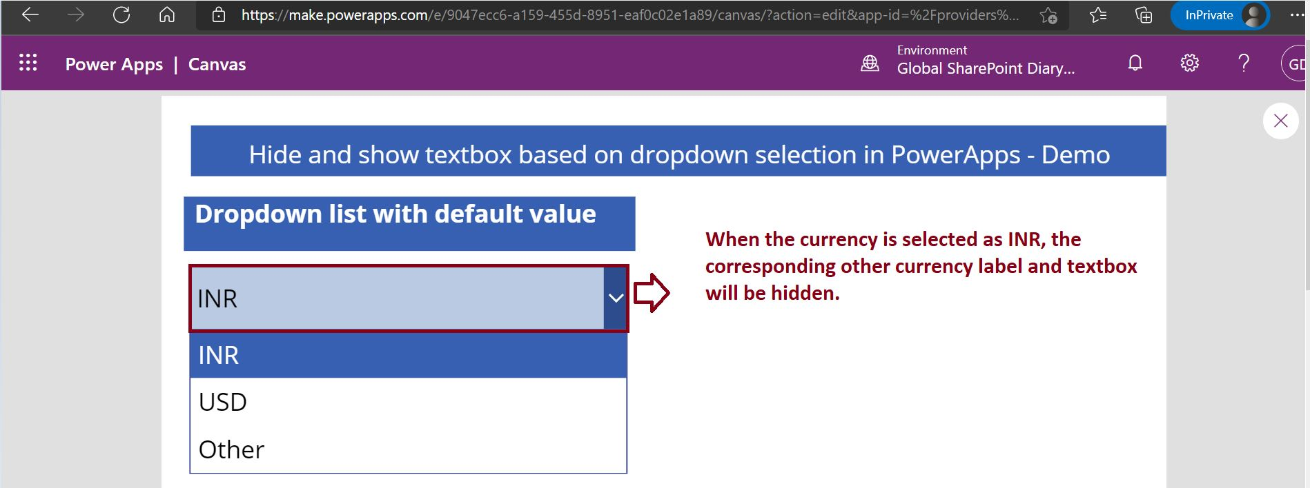 Conditionally display textbox and label in PowerApps