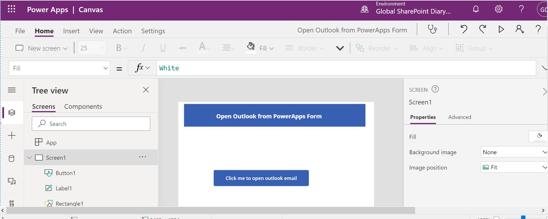 Contact us form in PowerApps