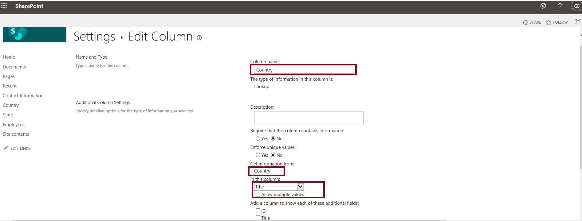 Country lookup column structure in SharePoint