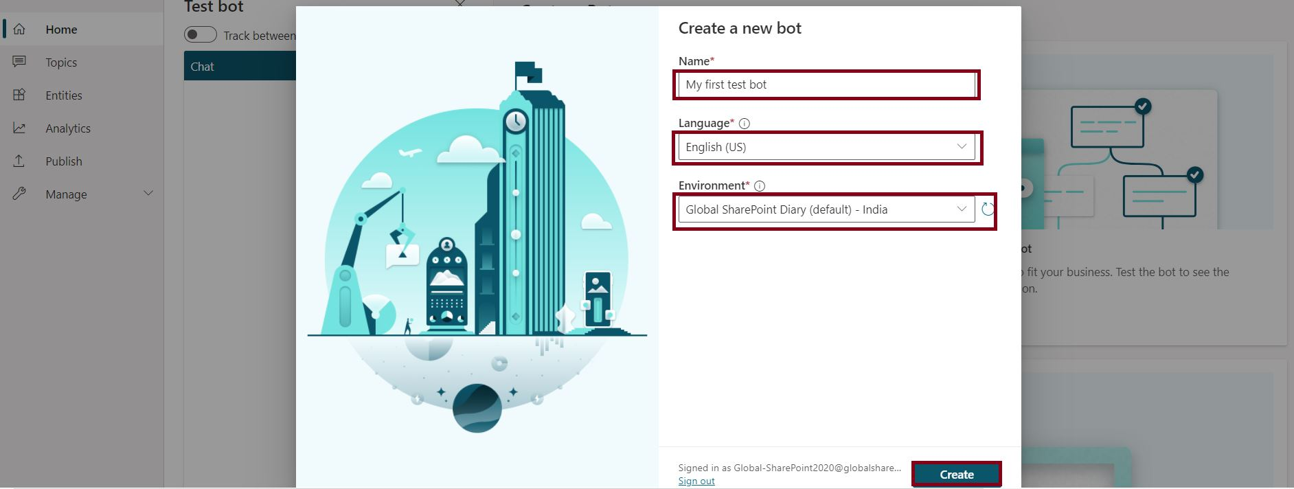 Create a new bot in Power Virtual Agents - PowerApps