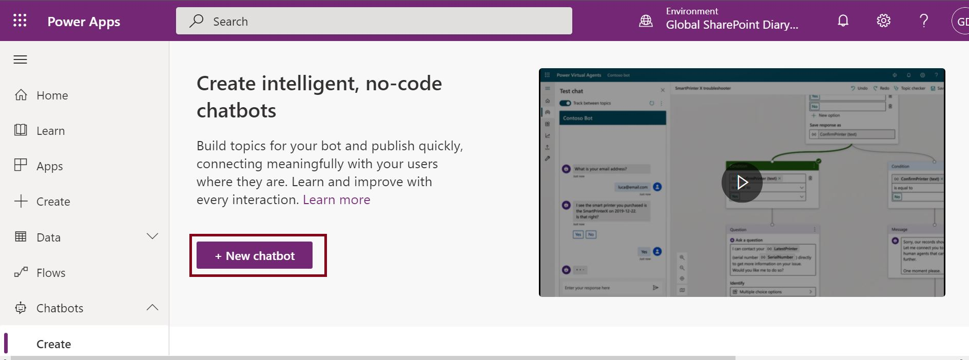 Create intelligent, no-code chatbots using PowerApps