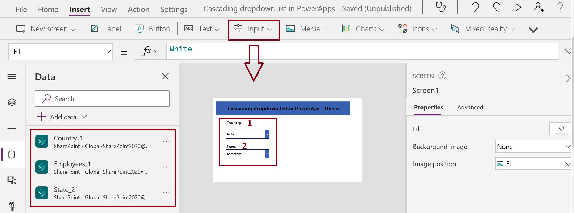 Design the dependent dropdown list canvas app in PowerApps