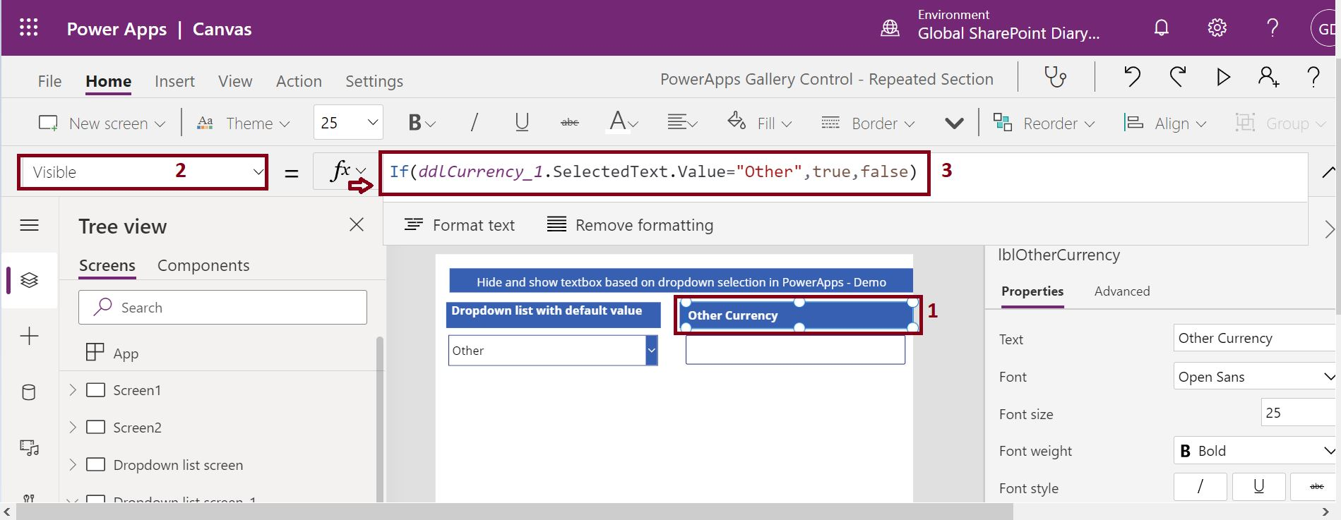 Display label control based on the dropdown list selection in PowerApps