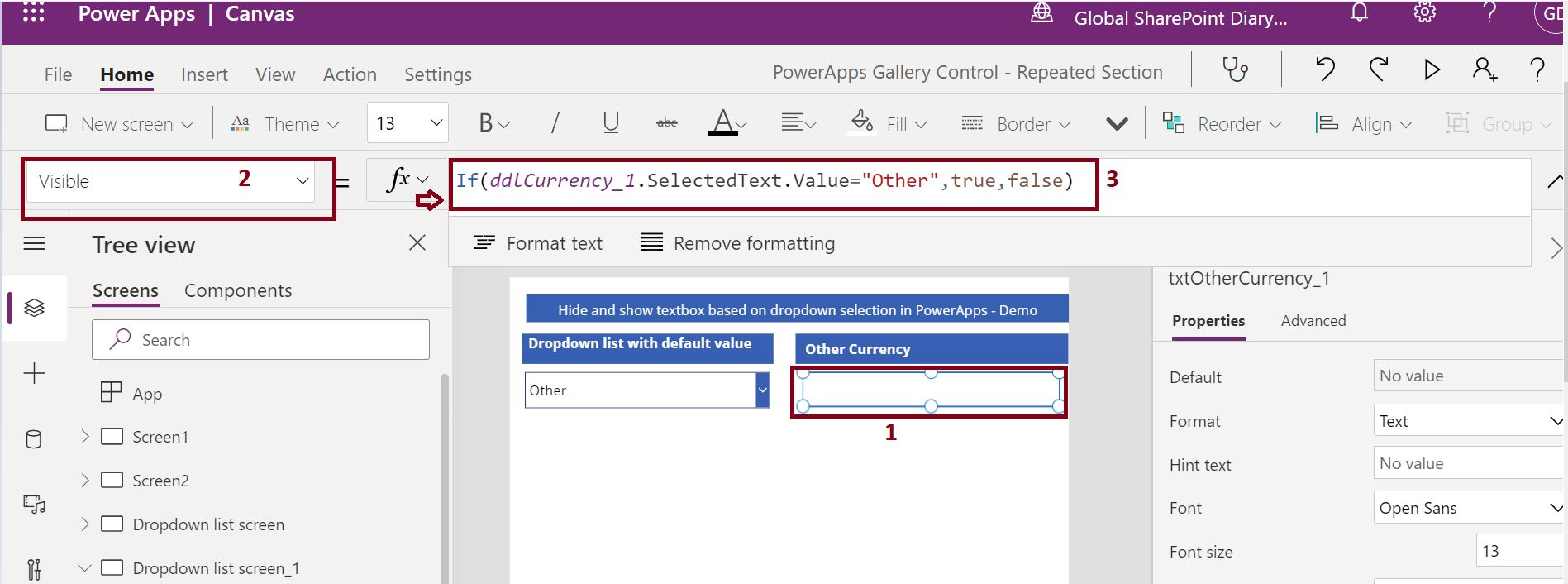 Display textbox control based on the dropdown list selection in PowerApps