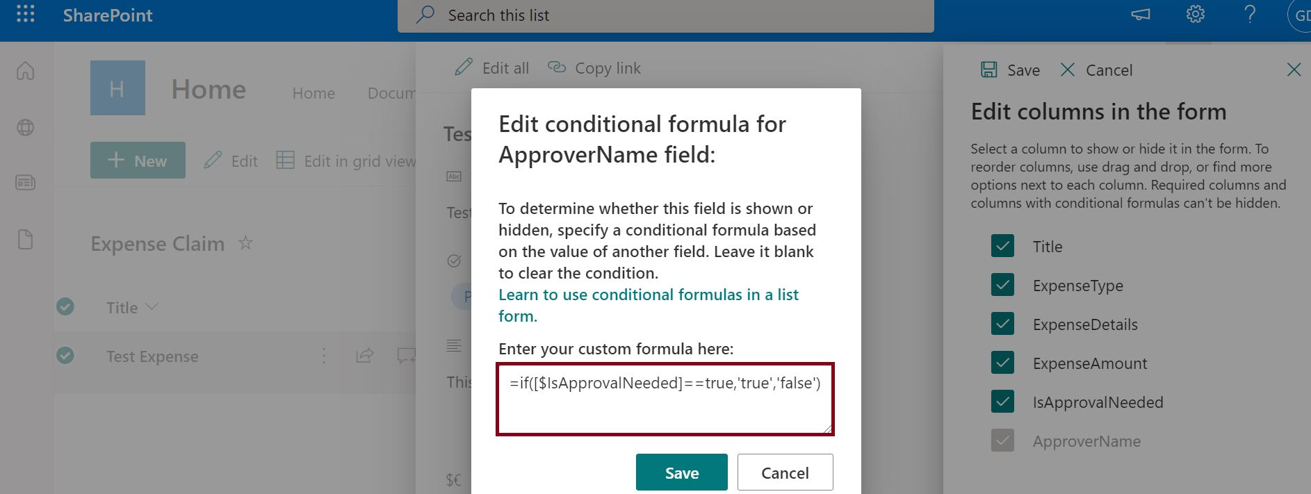 Edit conditional formula for SharePoint field