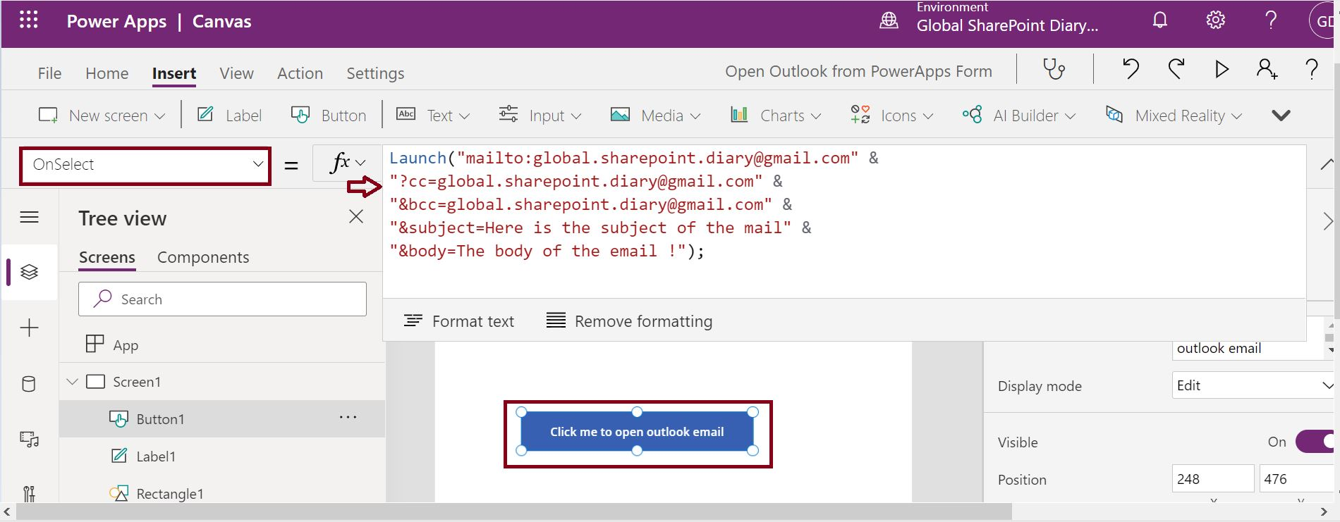 Launch function to open Outlook in PowerApps