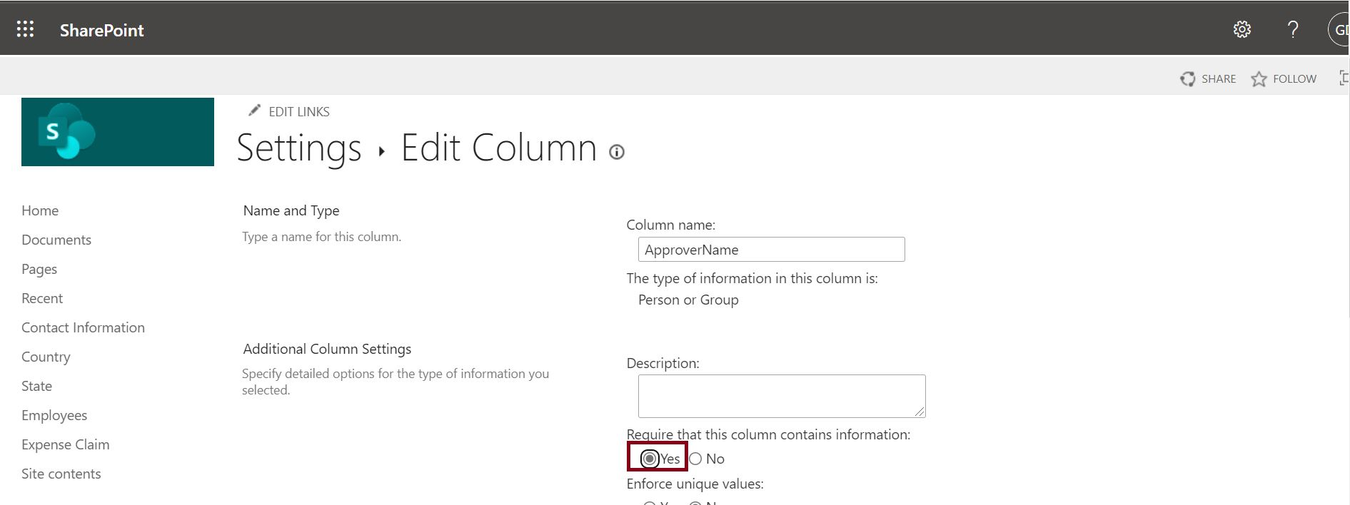 Make existing column as required in SharePoint Online