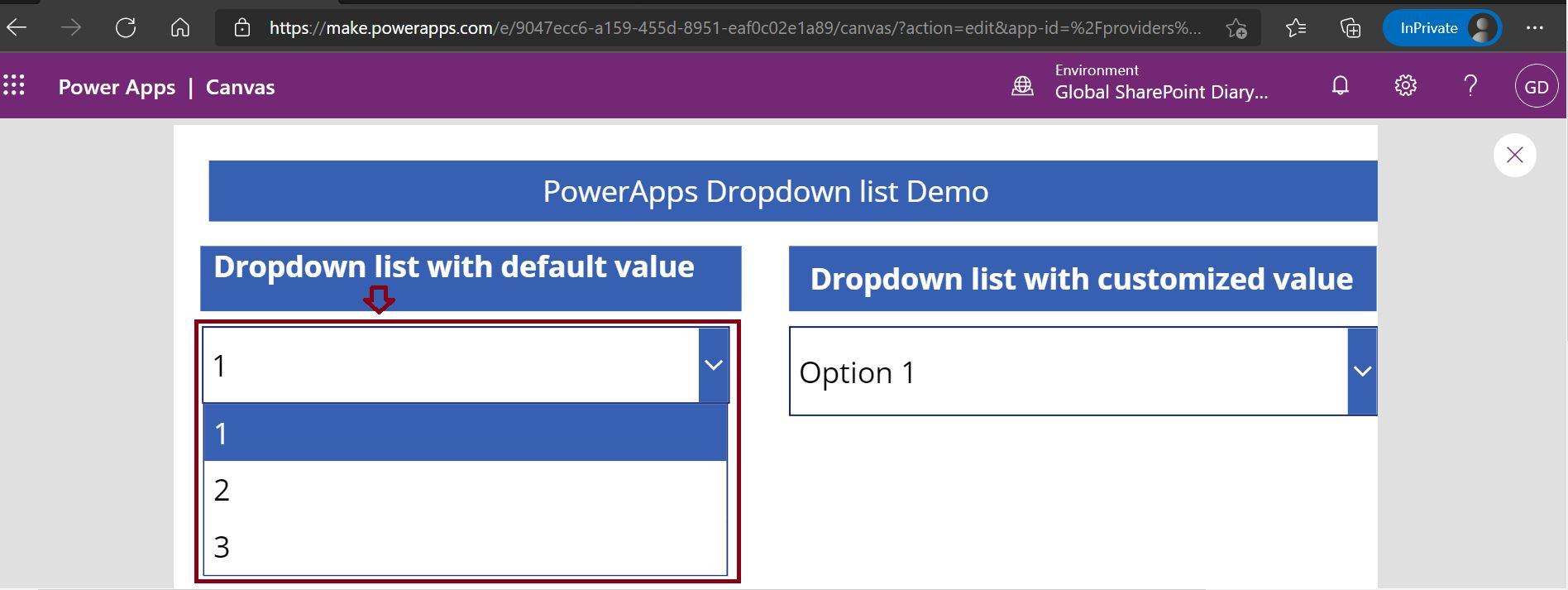 Out of the box dropdownsample value in PowerApps