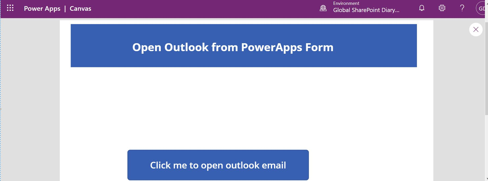Preview the open outlook form from PowerApps