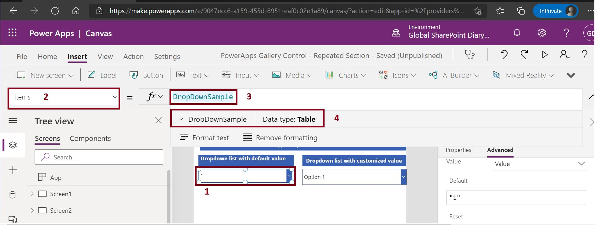 Sample dropdown option value in PowerApps