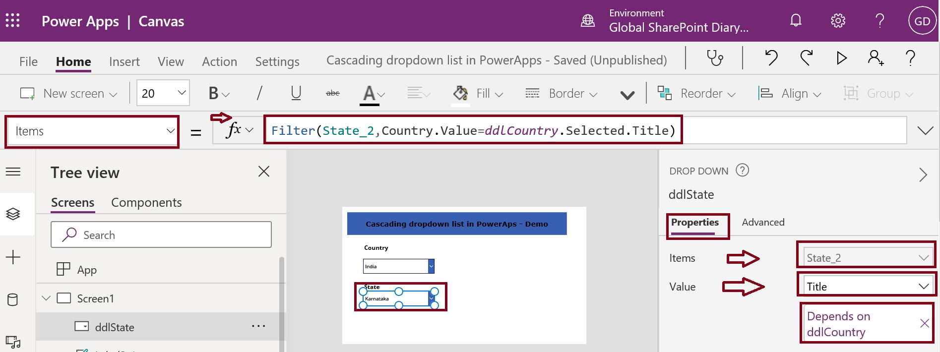State cascading dropdown list design in PowerApps