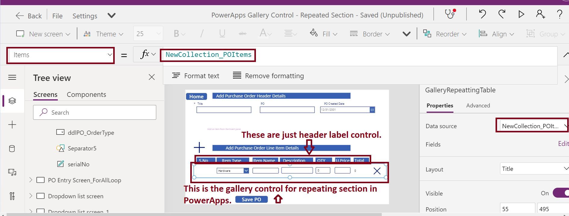 Add Gallery control in PowerApps for repeating section