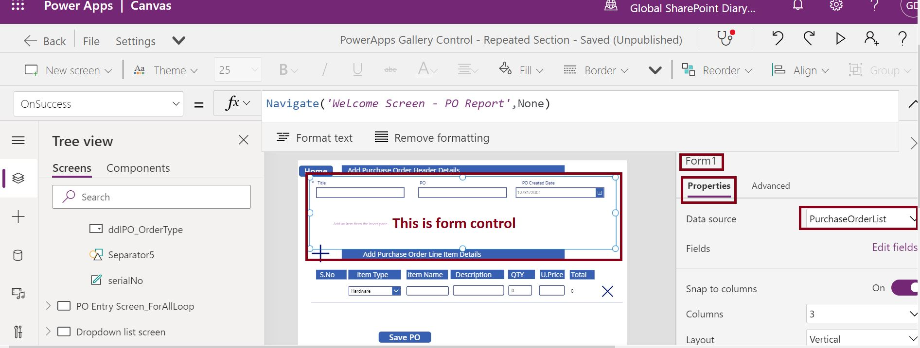 Add form control in PowerApps with SharePoint data source