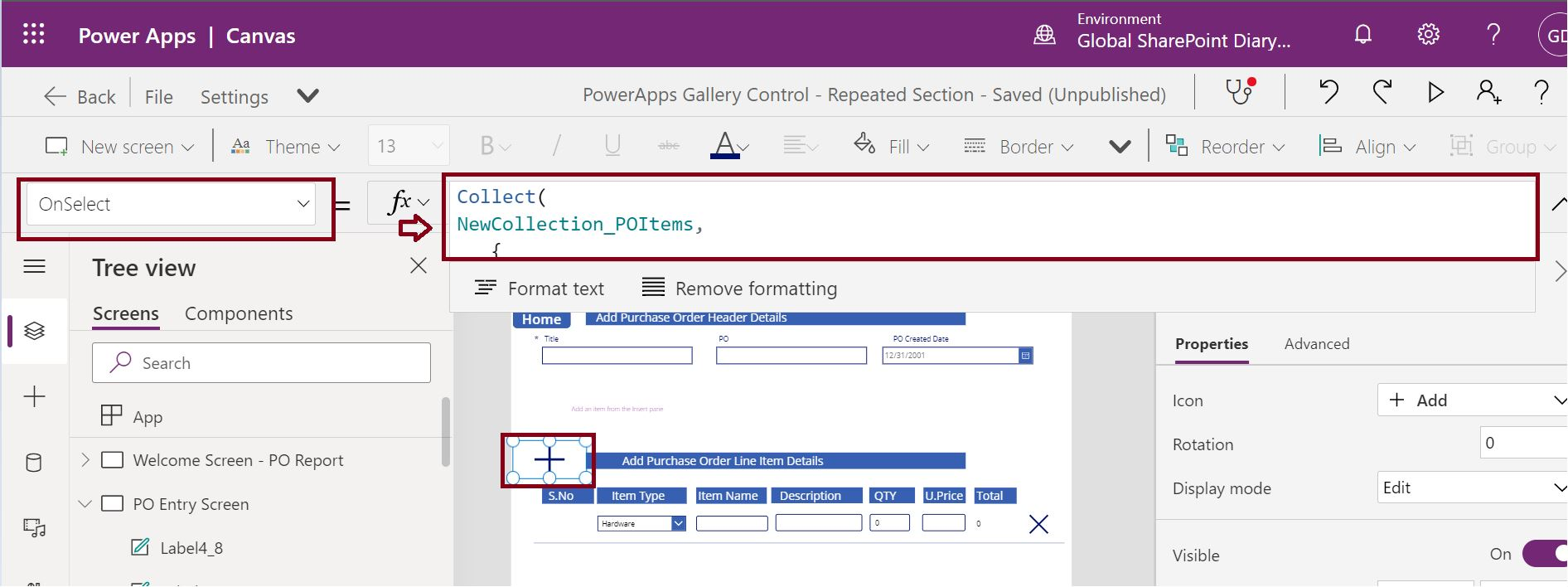 Add new item in PowerApps Gallery collection by clicking +Add icon