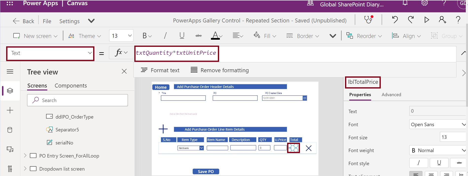 Automatic price calculation in PowerApps Gallery control
