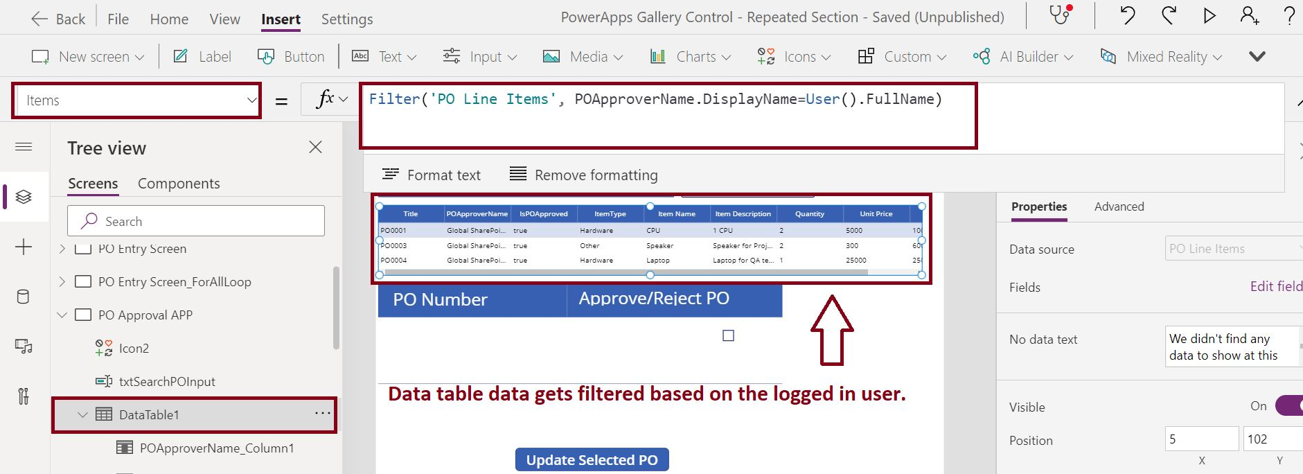 Filter PowerApps data table items based on the logged in user