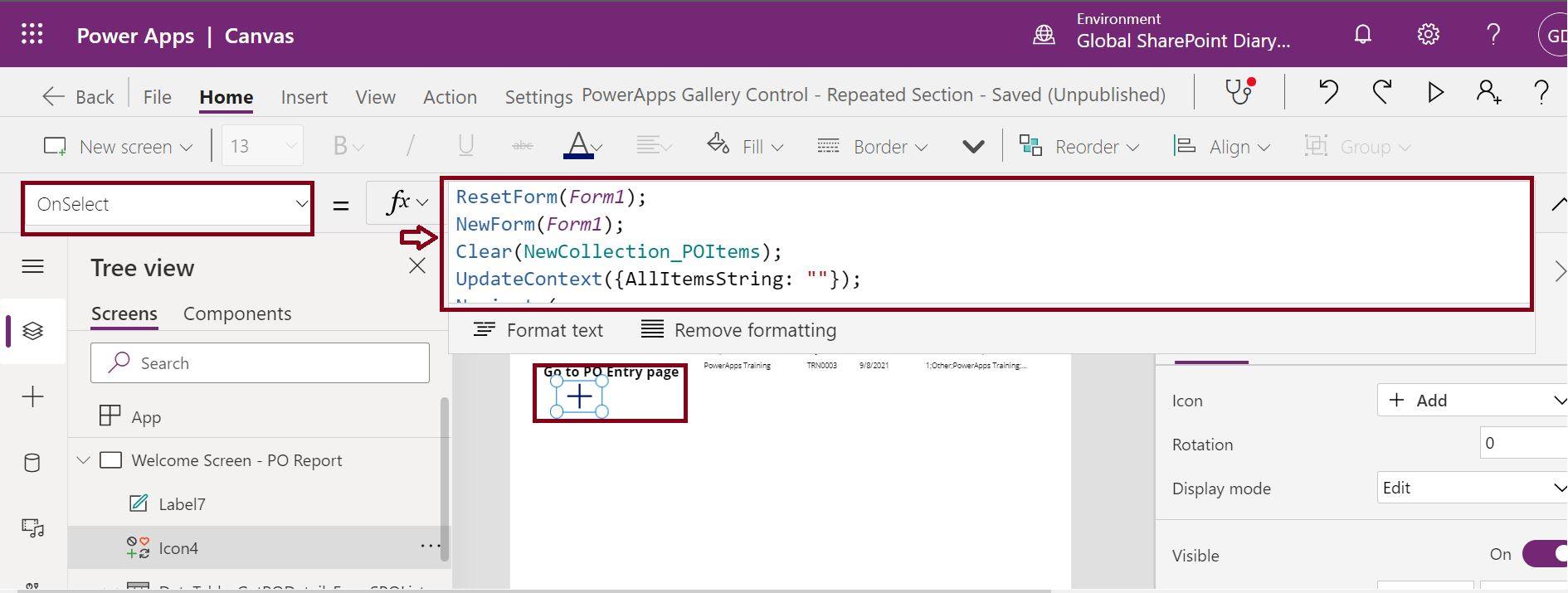PowerApps onselect function plus icon to navigate to purchase order creation page