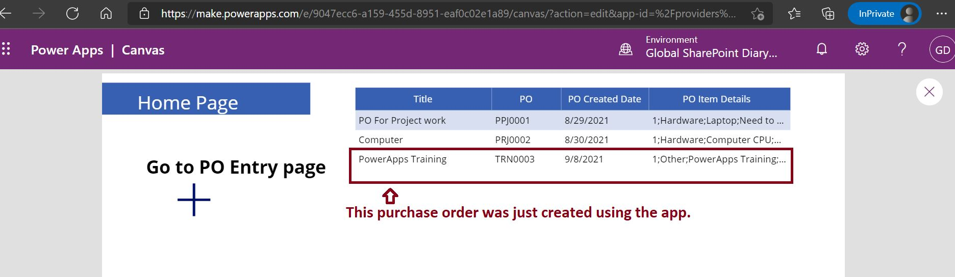 PowerApps repeating section SharePoint datatable