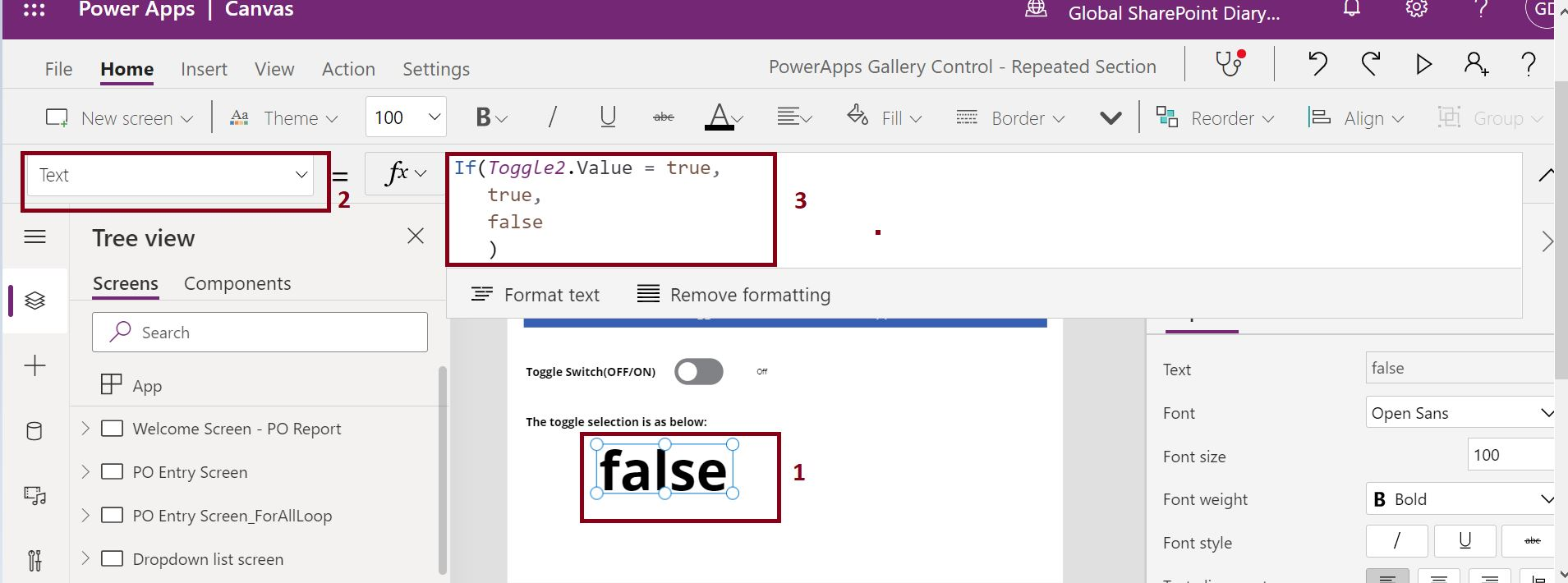 PowerApps toggle control enabled or disabled formula