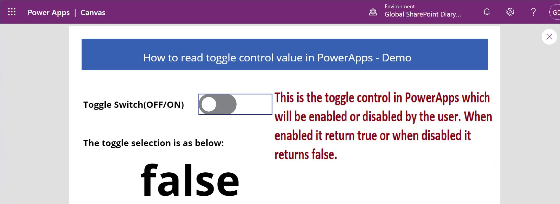 PowerApps toggle control enabled or disabled switch
