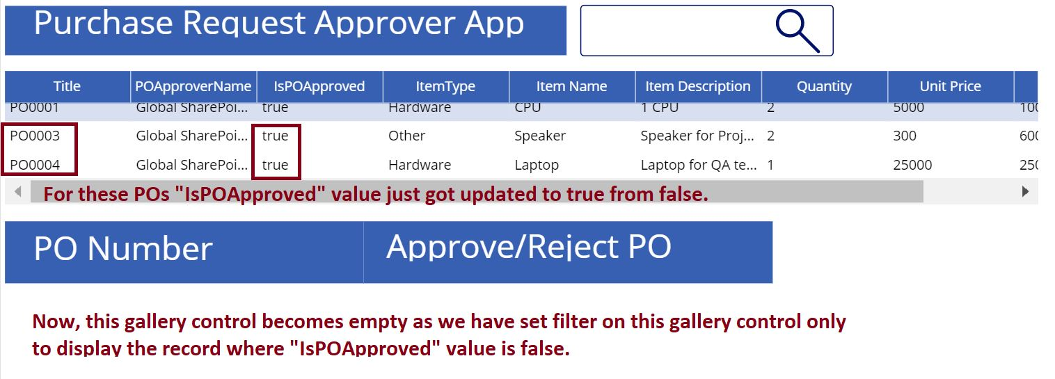 Purchase Request approver app using the PowerApps gallery control