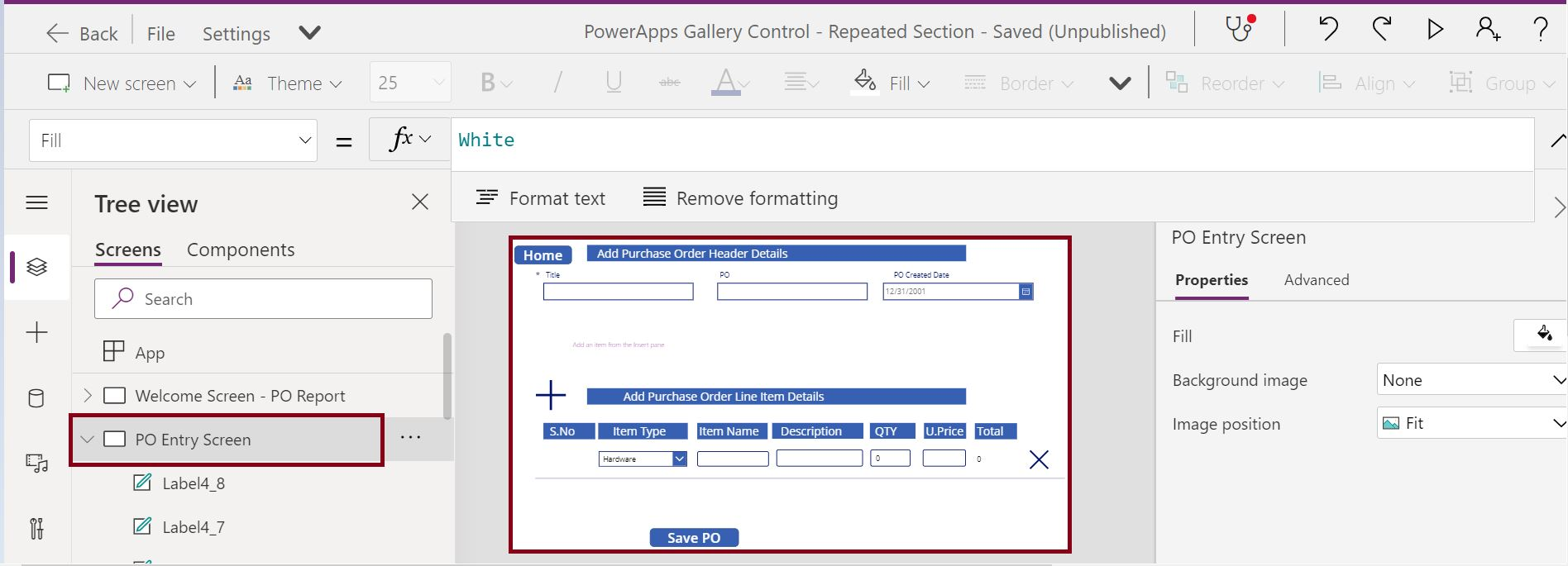 Purchase order table design in PowerApps