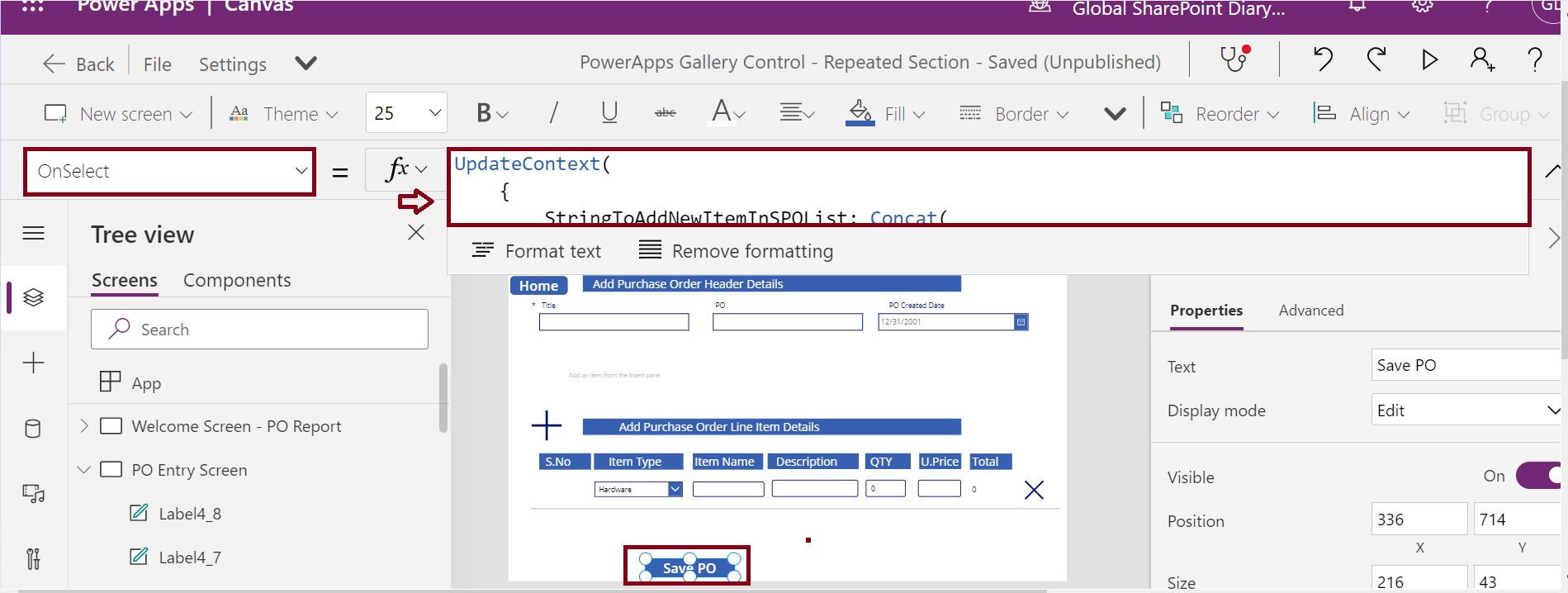 Save Purchase Order header and line items to SharePoint from PowerApps